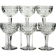 Fostoria American Champagne Glasses Vintage Elegant Glass Set 6 Hex Footed