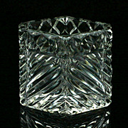 Czechoslovakian Cut Glass Toothpick Holder Signed Acid Etched Mark Crystal