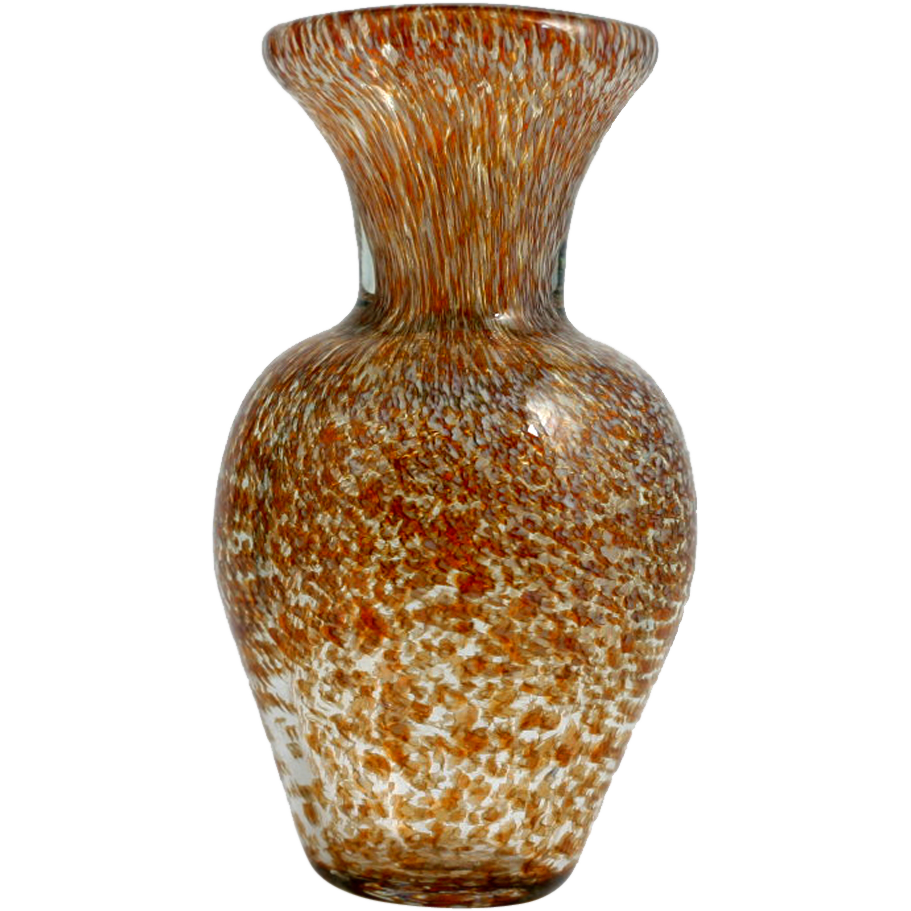 Hand Blown Art Glass Vase Amber Brown and White Dappled Studio work.