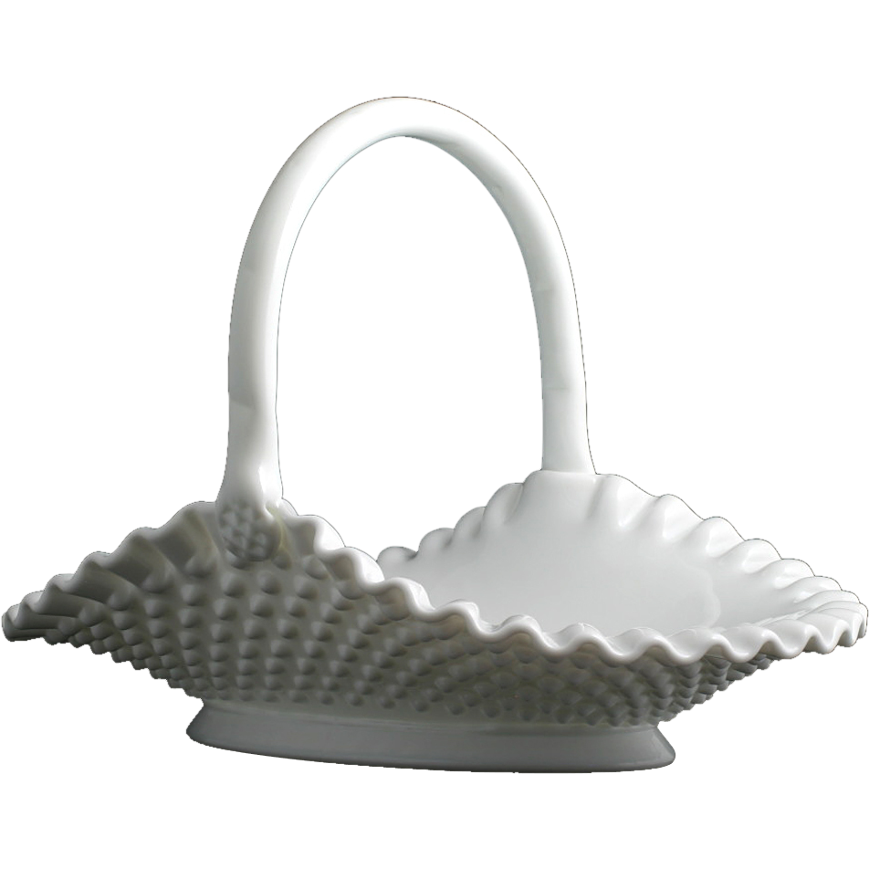 Fenton Hobnail Milk Glass Basket Oval Vintage Art Glass Hand Made #3839