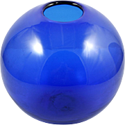 Blenko Sapphire Blue Globe Vase 7115M Hand Blown Art Glass Cobalt