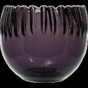 Blenko Amethyst Art Glass Bowl Crimped 538 Anderson Mid Century Modern Hand Blown