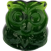 Blenko Art Glass Green Owl Figurine Hand Made USA with Label Lars Hellsten.