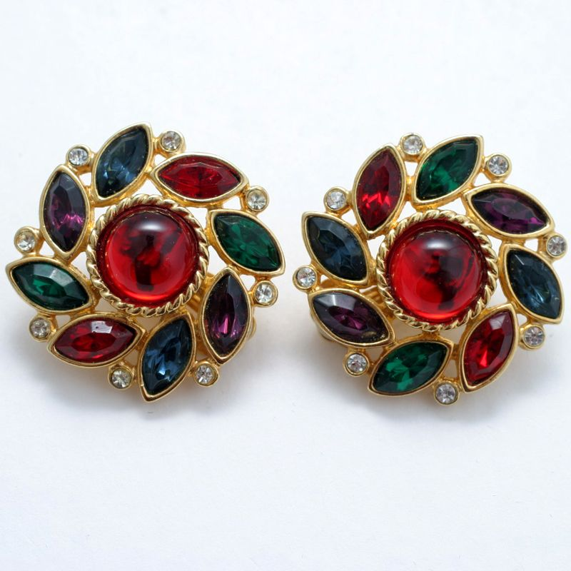 Bright and Bold Multicolored Rhinestone Clip Earrings