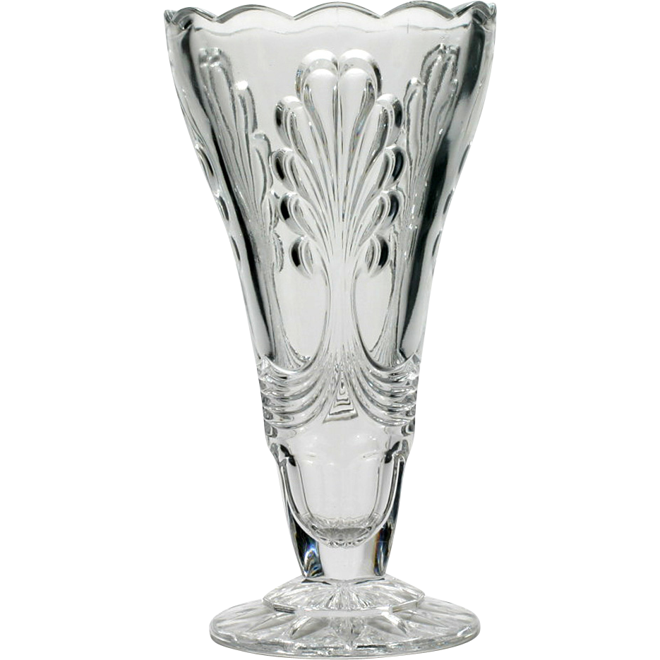 vintage art deco glass vase pressed crystal european large from catisfaction on ruby lane. Black Bedroom Furniture Sets. Home Design Ideas