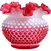 Fenton Cranberry Opalescent Hobnail Vase Vintage Ruffled Art Glass 3850