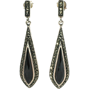 Sterling Silver Earrings Marcasite and Onyx Teardrop Dangles