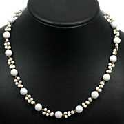 Trifari White Beaded Vintage Necklace