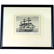 CJA Wilson Original Etching Af Chapman Swedish Ship Dunboyne Signed