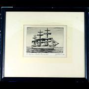 CJA Wilson Original Etching Af Chapman Swedish Ship Dunboyne Signed