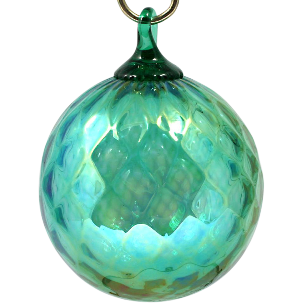 Glass Eye Studio Christmas Ornament Green Diamond Optic Art Glass Orb