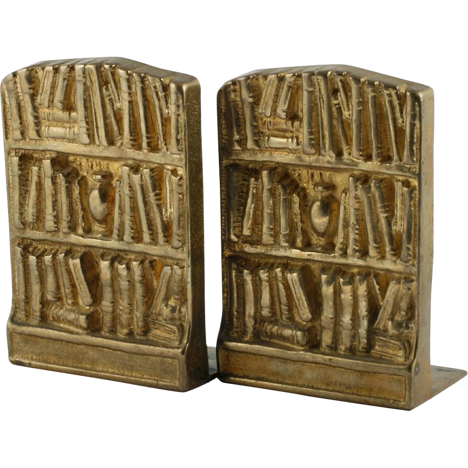 Brass Bookends Pair Vintage Bookshelves Library Design
