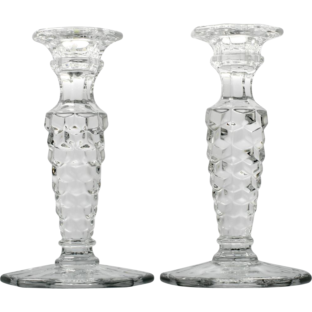 Fostoria American Elegant Glass Taper Candle holders Tall Pair Vintage Crystal