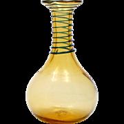 Blenko Amber Art Glass Vase with Cobalt Blue Spiral Hand Blown Vintage