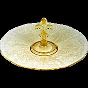Fostoria Kashmir Topaz Serving Plate Center Handled Elegant Depression Glass Etched