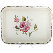 Tin Tray Pink Rose Nashco New York Vintage Gold Trim Metal Hand Painted