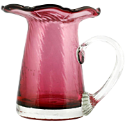Pilgrim Cranberry Mini Pitcher Art Glass Hand Blown Spiral Optic