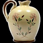 Bo Fajans Swedish Art Pottery Jug Pitcher Pink Flowers Mid Century