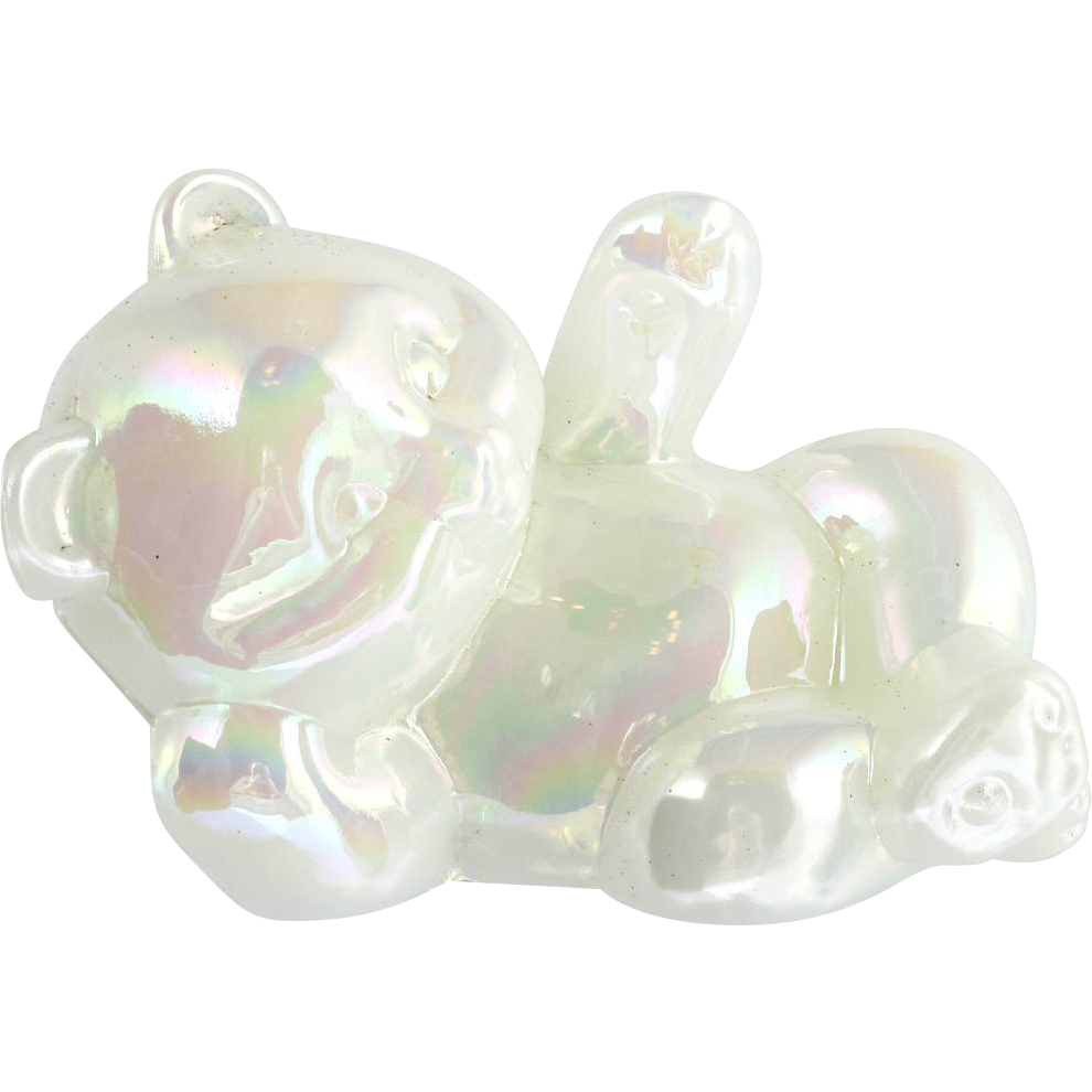 Fenton Laying Bear Figurine Iridescent White Carnival Glass Milk Glass