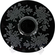 Paden City Ebony Ardith Etched Glass Platter Elegant Glass Black Amethyst