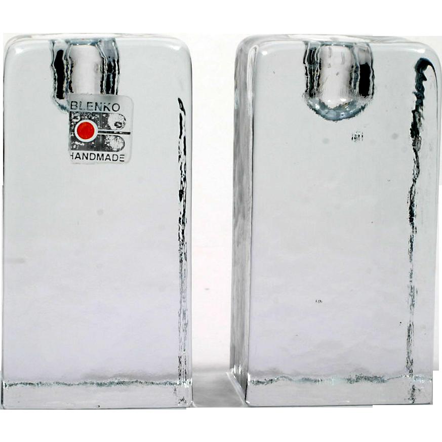 Blenko Art Glass Candle Holders Crystal 84M Candle Block Pair Vintage