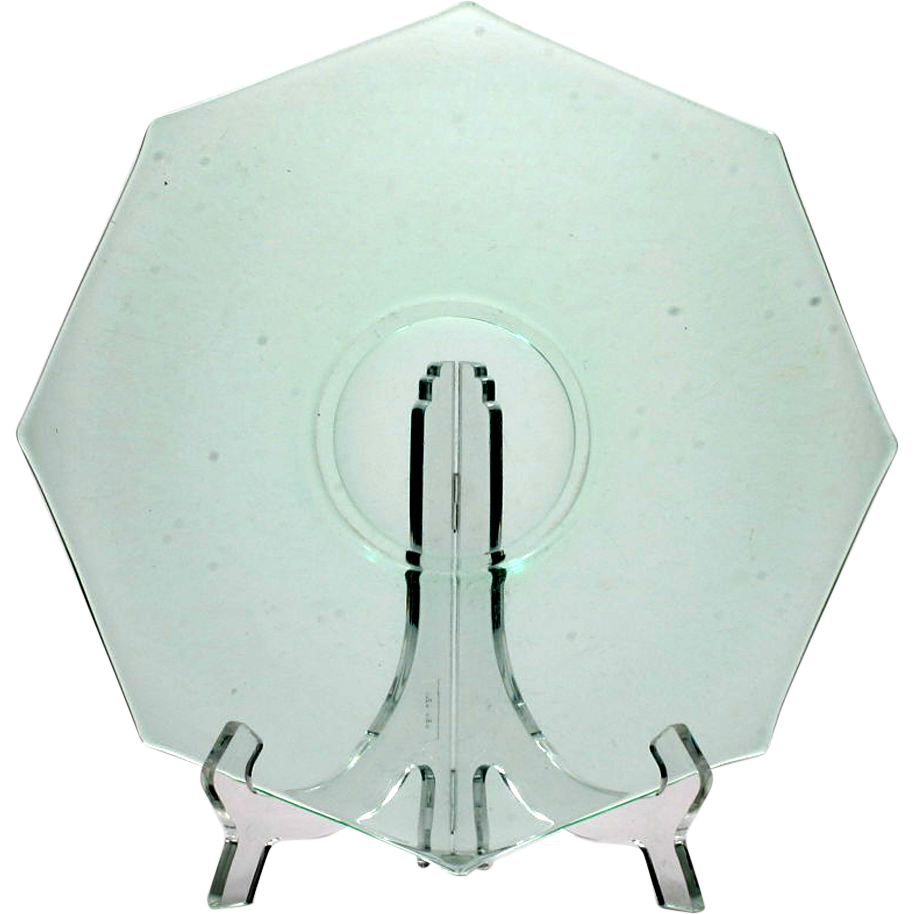 Uranium Green Elegant Depression Glass Serving Plate Octagon