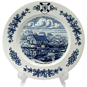 Peggy's Cove Nova Scotia Collector Plate Staffordshire Pottery Blue and White England