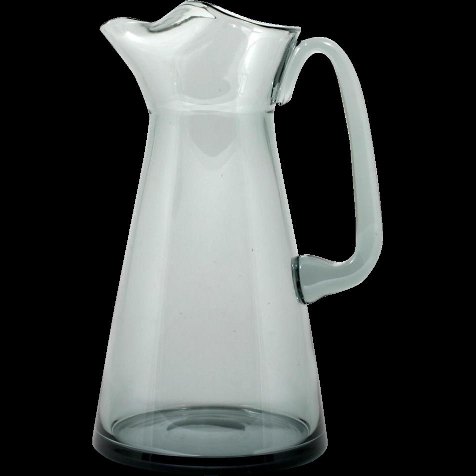 Swedish Modern Art Glass Pitcher Smoke Grey Mid Century Modern Martini Cocktail