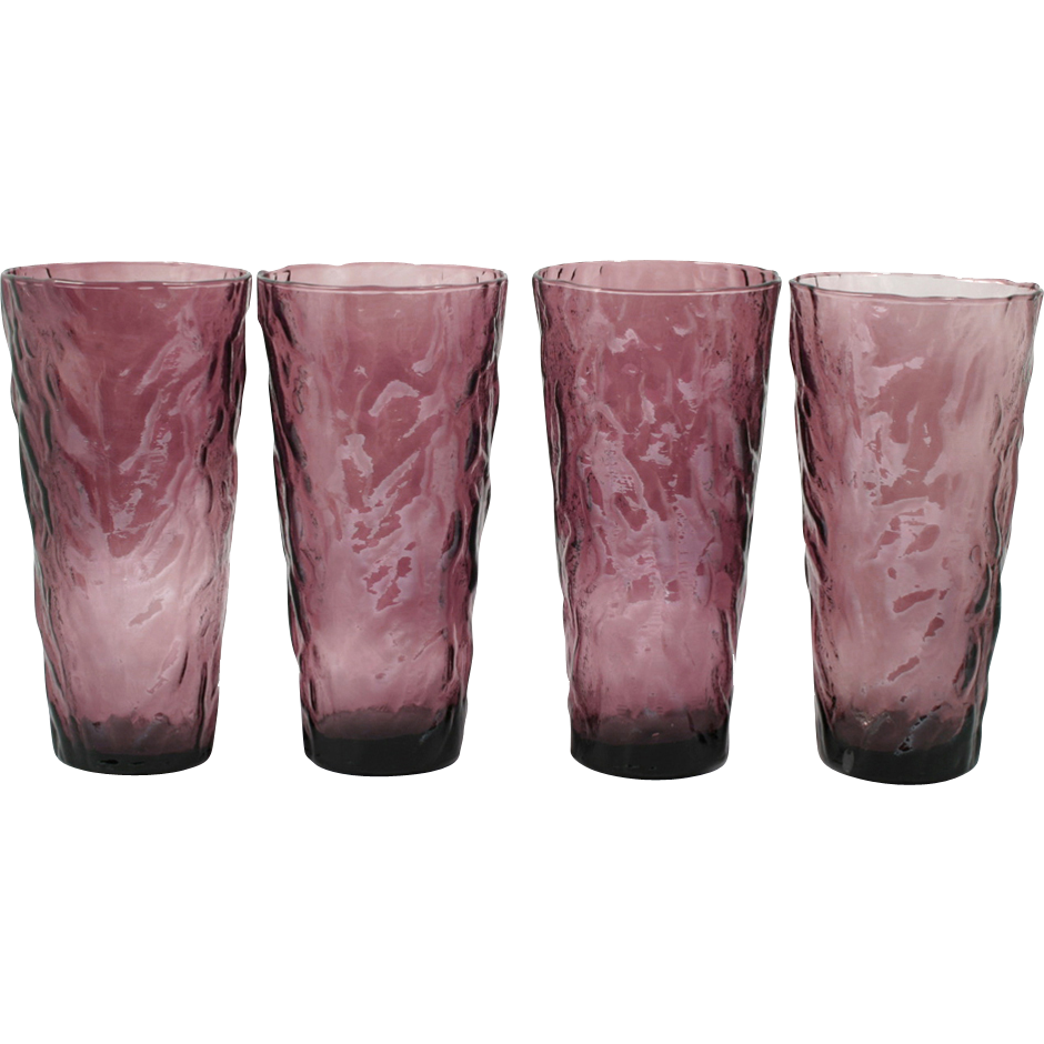 Amethyst Crinkle Glass Tall Tumblers Art Glass Vintage Wrinkle