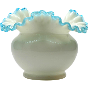Fenton Aqua Crest Art Glass Vase Vintage 1940s Hand Made Blue Milk Glass