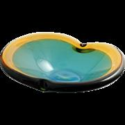 Murano Art Glass Sommerso Bowl Mid Century Modern Vintage Glass Italian