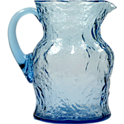 Morgantown Blue Crinkle Glass Pitcher Ockner Art Glass 1960s Vintage