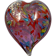 Art Glass Heart Paperweight Peloton Canes Neodymium Purple Blue