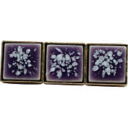 Purple Porcelain Tile Bar Pin Mid Century Modern Brooch