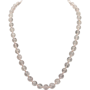 Rose Quartz Vintage Necklace with Sterling Silver Filigree Clasp 1920s