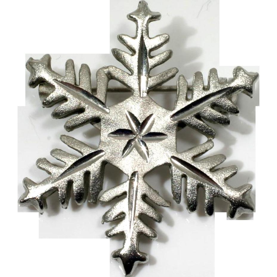 Brushed Silvertone Snowflake Pin