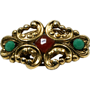 Gold Filigree Accent Brooch with Green and Orange Rhinestones