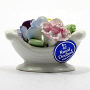 Royal Doulton Bone China Flowers Miniature Bouquet in Bowl Porcelain English