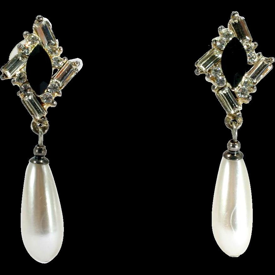Vintage Rhinestone Teardrop Dangle Earrings with Faux Pearl