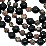 Vintage Onyx and Rhodonite Bead Necklace