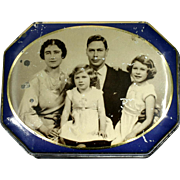 King George VI Vintage Tin Royal Family Portrait Souvenir Queen Elizabeth