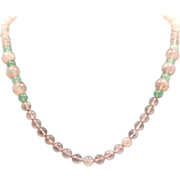 Rose Quartz and Jade Necklace Single Strand Vintage Beads