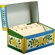 Tulip and Floral Metal Recipe Box 1940s Vintage Kitchen File Case