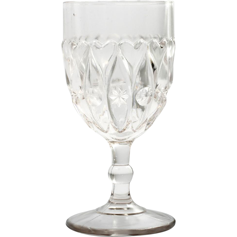 EAPG Indiana Shuttle Wine Glass Antique Pressed Glass 1896 Stars Hearts