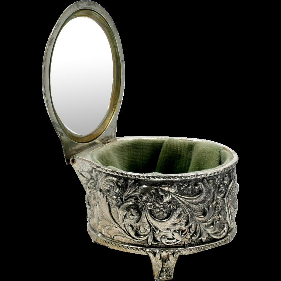 Vintage Jewelry Casket Silver Tone with Green Velvet Round Tinket Box