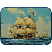 Vintage Toffee Tin Tall Ship Hearts of Oak English Maritime Art