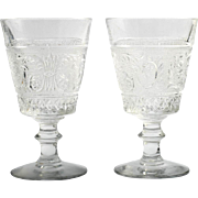 Duncan and Miller Sandwich Glass Goblets set of 2 Vintage Elegant Glass