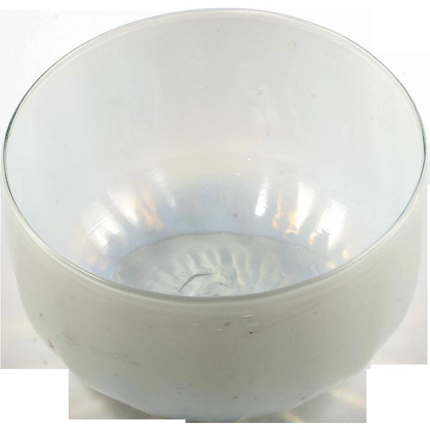 Victorian Opalescent Art Glass Finger Bowl Antique Hand Blown Glass 1890s