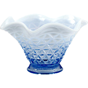 Imperial Glass Katy Blue Opalescent Glass Mayonnaise Bowl Vintage Depression Glass