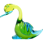 Murano Glass Duck Figurine Paperweight Blue Green Art Glass Sommerso Italian